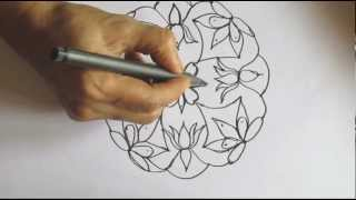 How to Draw 9 Dot Lotus Rangoli Design