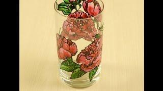 Расписываем стакан акриловыми красками по стеклу и керамике