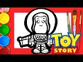 How to draw cute Buzz Lightyear inspired by toy story 4   Learn colors