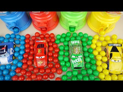 Cars And Poli Car Toys Candy Dispenser Surprise Eggs Toys Play
