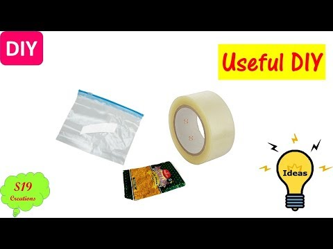 Best out of waste   waste material craft   cellotape hacks   reuse of plastic bags  recycling