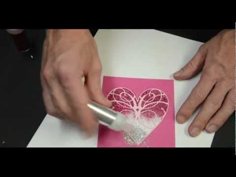 Memory Box Ombre Glitter Heart Card