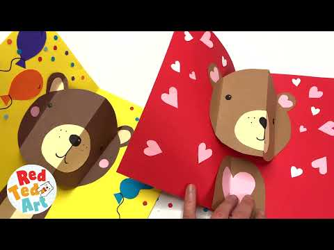 Pop up Bear Card - How to make a pop up card for Birthdays, Valentine's and Christmas
