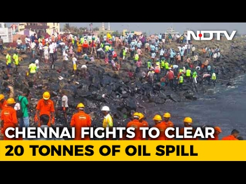 As Machines Fail, Chennai Fights Manually To Clear Oil Spill