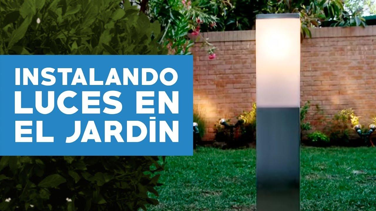 como instalar luces en el jardin