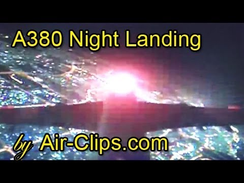 Emirates Airbus A380 night landing seen from onboard tail camera! [AirClips]