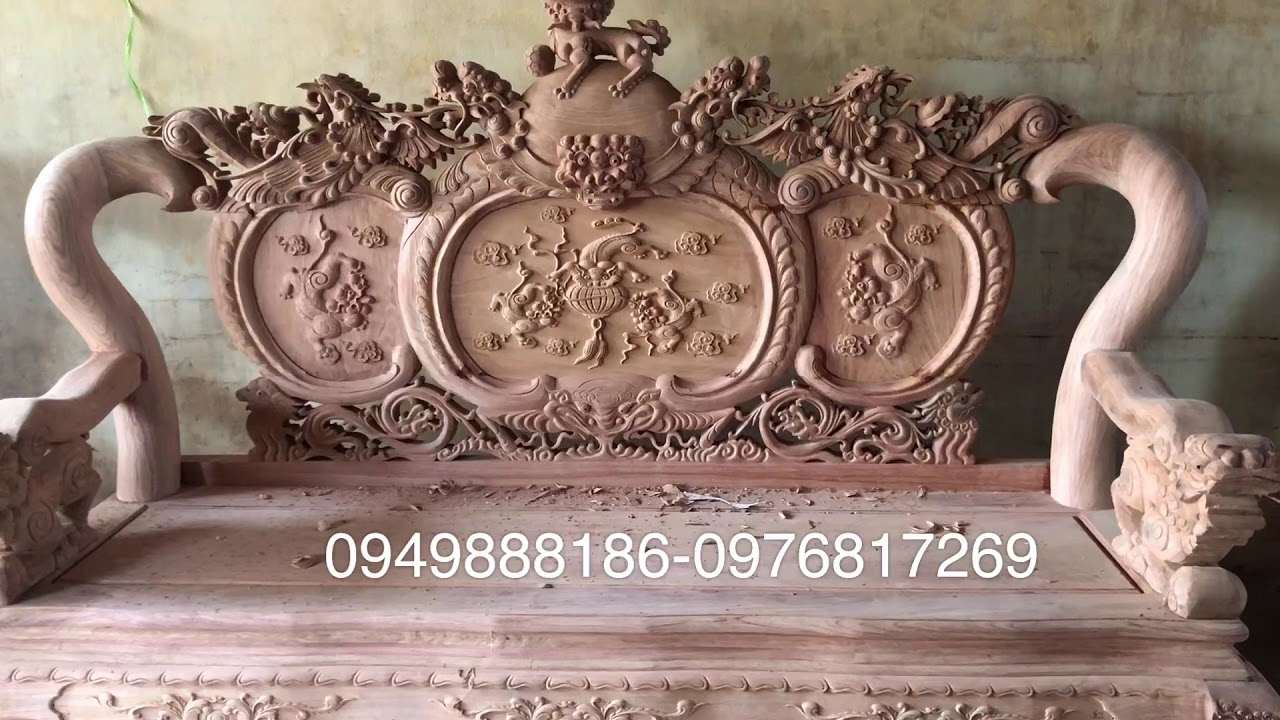 Hàng vip. Bộ bàn ghế minh quốc Nghê Phượng tay 12. Gỗ hương đá. Hàng đục kỹ sắc nét tỷ mỷ. Giá: 52tr