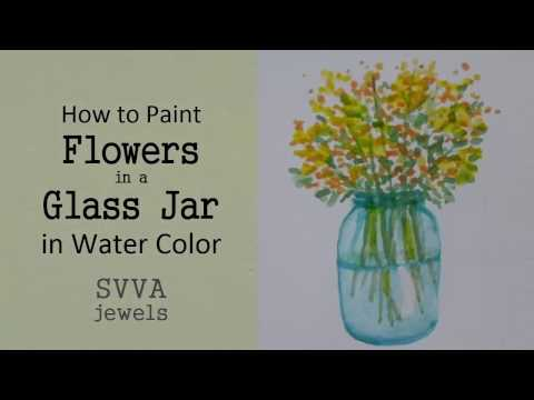 How To Paint Flowers In A Glass Jar No Pre Drawing Youtube