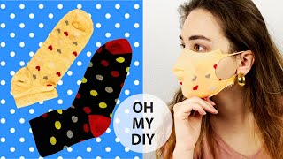 Easy Face Mask from Socks! NO Sew! DIY Cloth Mask with Socks | Tutorial
