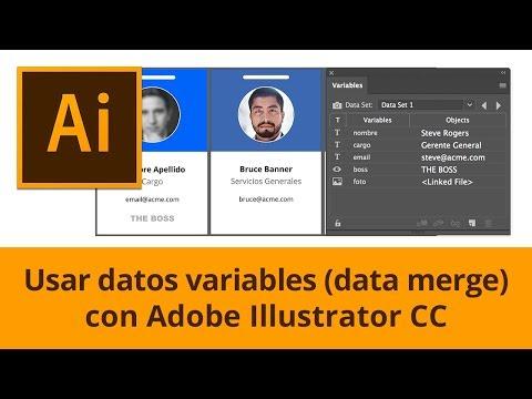 Usar datos variables en Adobe Illustrator (data merge).