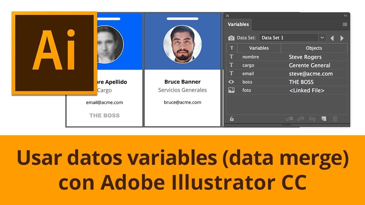 Usar datos variables en Illustrator (data merge) - YouTube