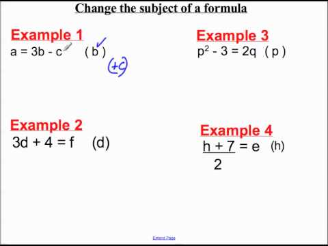 Change the subject of the formula(1).mp4 - YouTube