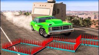 SPIKE STRIP HIGH SPEED CRASHES #29 - BeamNG Drive