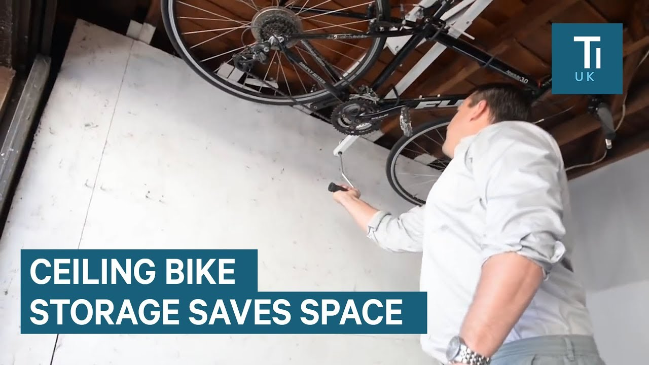 Space Saving Bike Rack Attaches To Your Ceiling Youtube