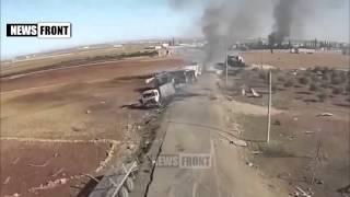~ Эксклюзивные кадры уничтоженного конвоя ИГИЛ в Сирии после авиаудара ВКС России
