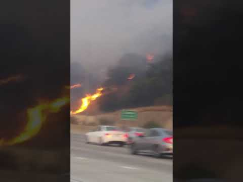 91 Freeway Fire in Southern California - 9/25/2017