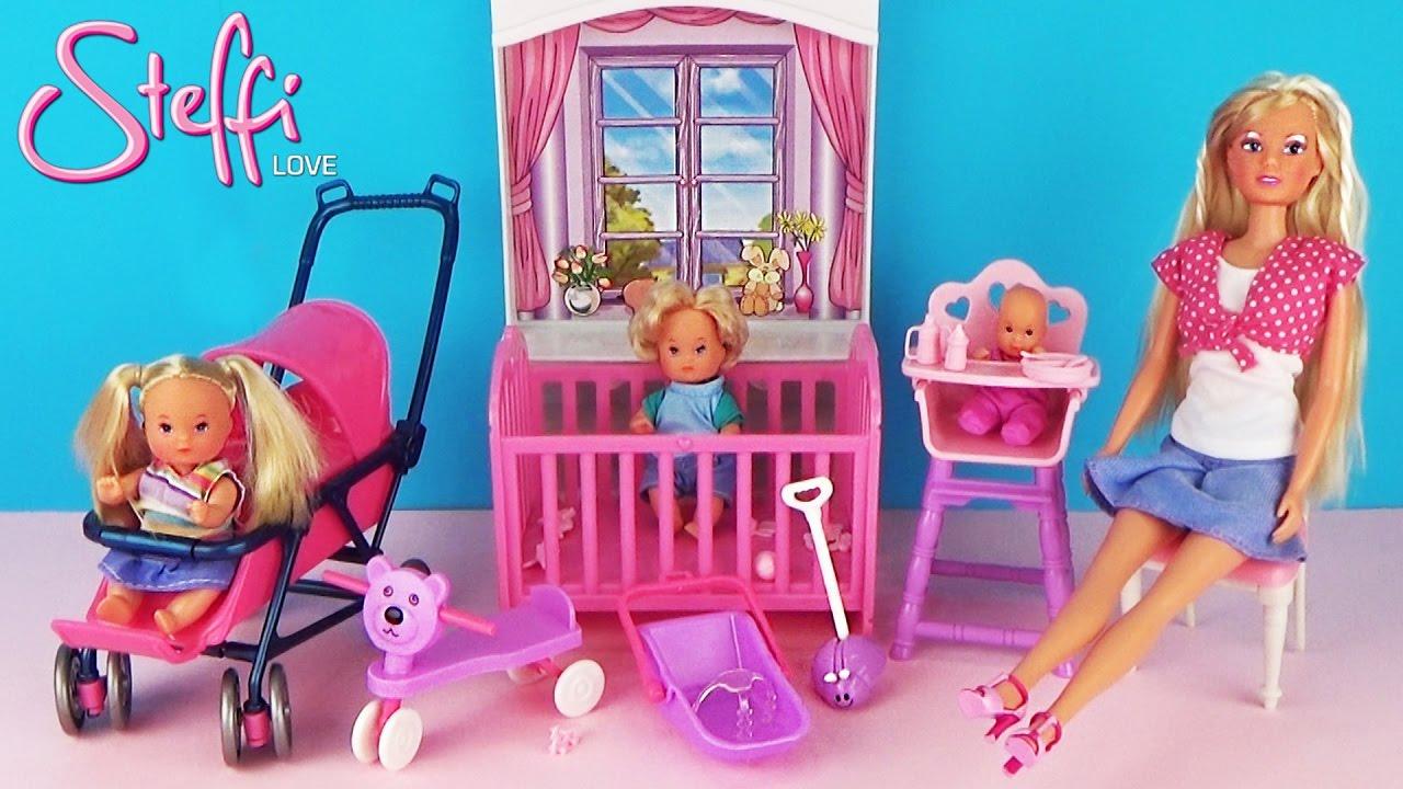 Кукла Штеффи с малышами, коляской и игрушками Распаковка и ...
