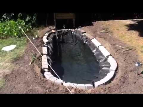 Mon bassin de jardin avec poisson hd youtube for Liner de bassin
