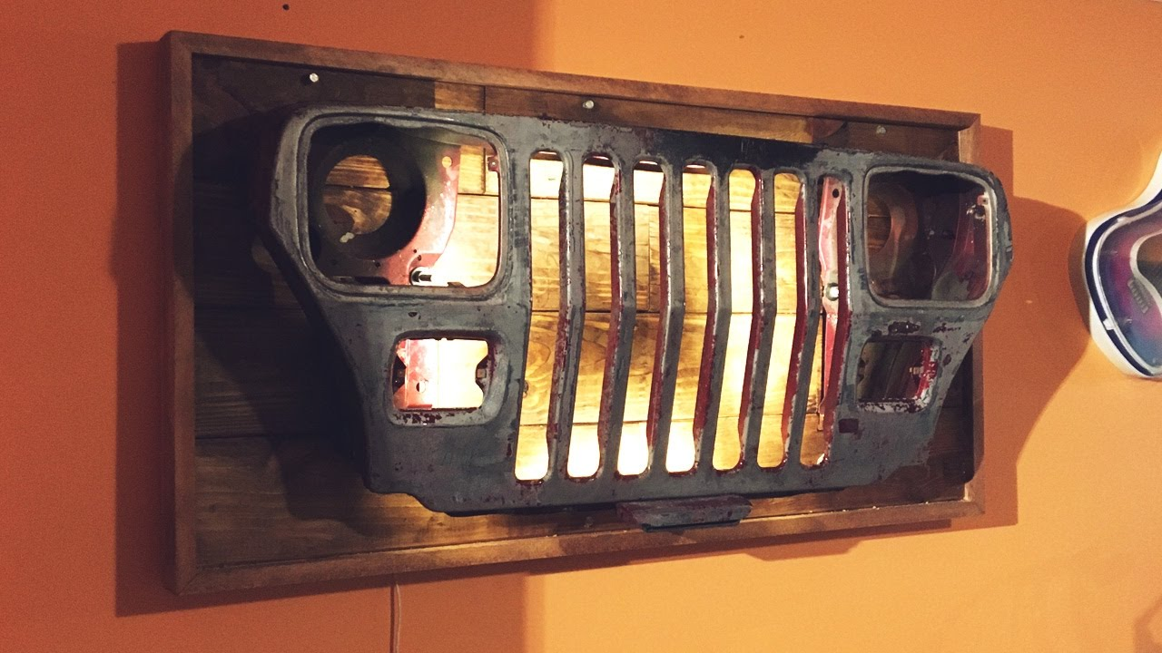 Diy jeep grille wall light youtube diy jeep grille wall light solutioingenieria Gallery