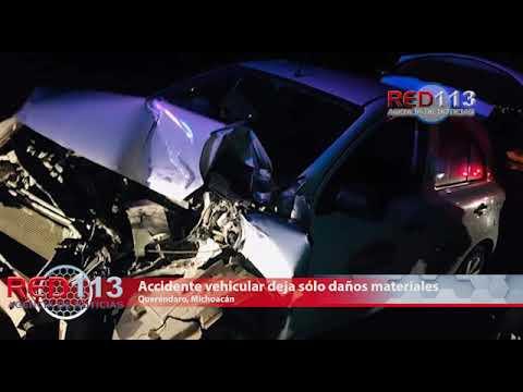 VIDEO Accidente vehicular en Queréndaro deja sólo daños materiales