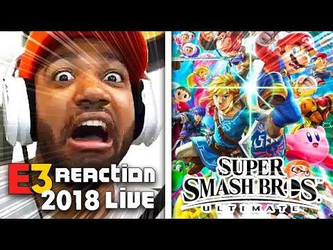 EVERYONE IS HERE!!! SUPER SMASH BROS ULTIMATE LIVE REACTION! - NINTENDO [E3 2018] thumbnail