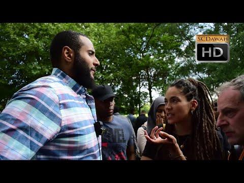 P1 - Feminism & Patriarchy Muhammad Hijab & Female Visitor   Speakers Corner   Hyde Park