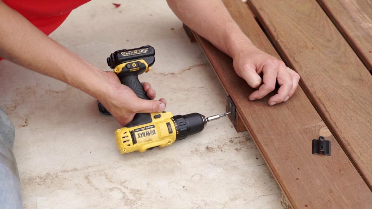 Houten Plank Blind Ophangen.Buitenparket Terrasplanken Voor Blinde Montage Met Clips Youtube