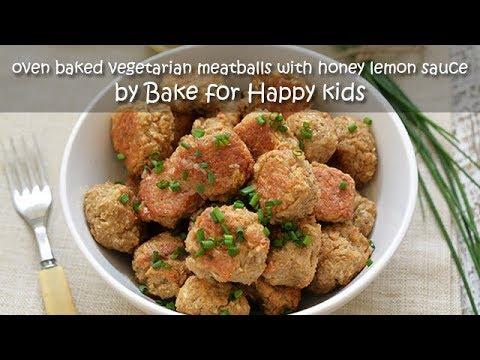 Oven Baked Vegetarian Meatballs with Honey Lemon Sauce