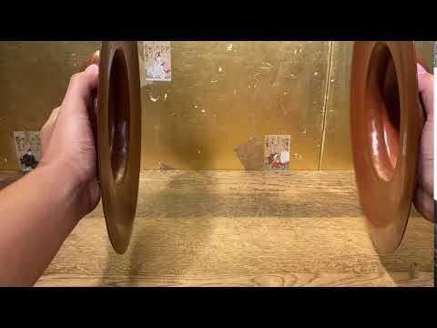 10/27結標 貴重品日本佛寺用法器 手工打出鐃鈸  100983 ─禪室 禪修 佛具 佛教 法器 收藏 密宗 茶道具