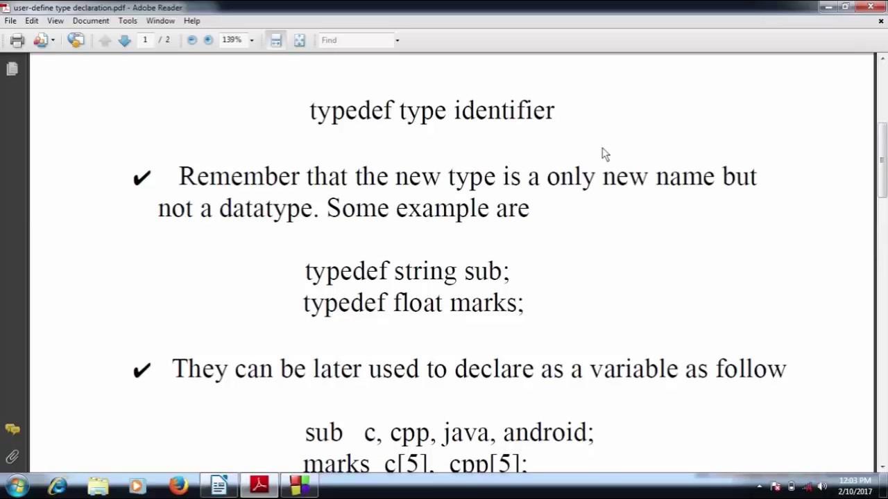 User define data types