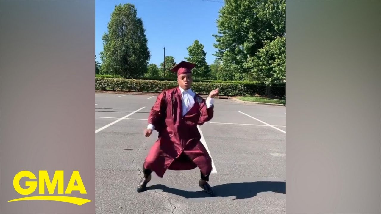 College graduate couldn't have a senior walk, so he did a senior walk dance instead