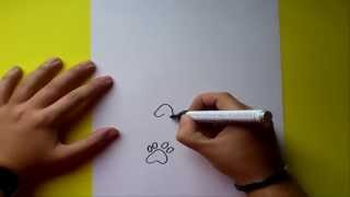 Como dibujar huellas paso a paso | How to draw footprints