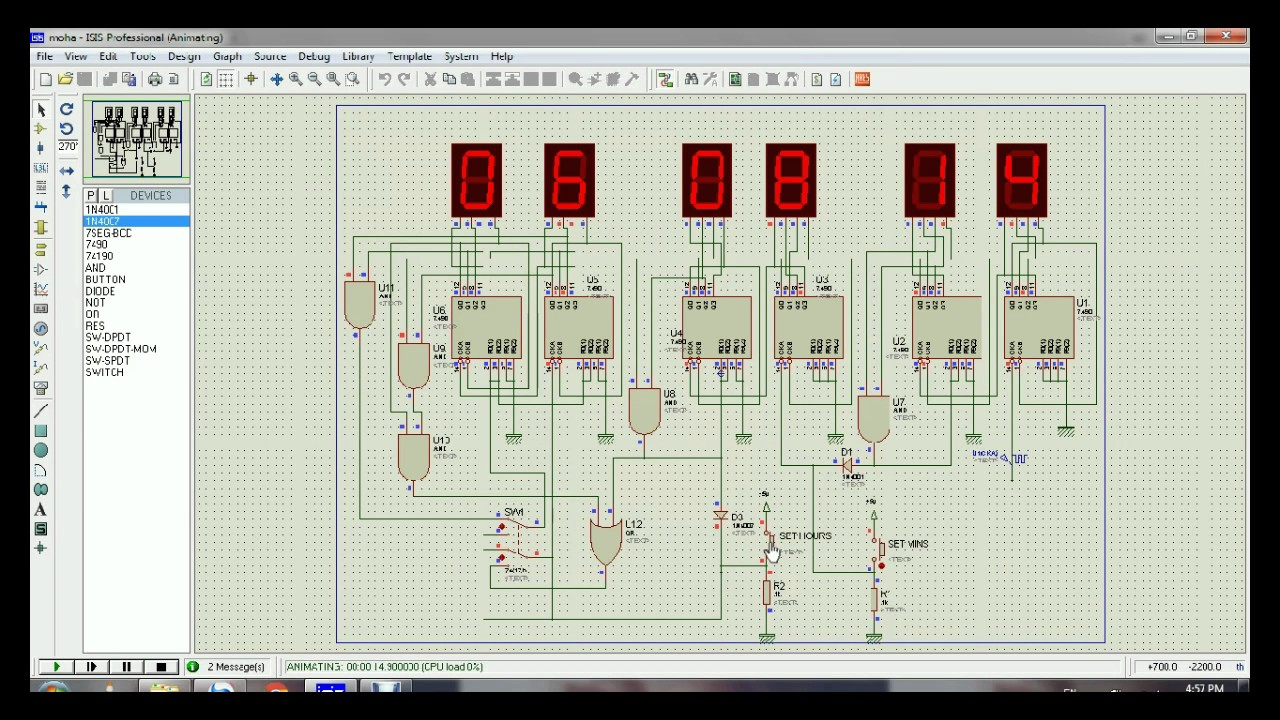 1224 hour Digital clock using 7490 decade counter and BCD
