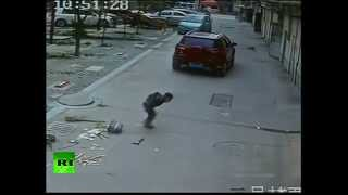 Miracle! China boy run over by car, stands up, walks away
