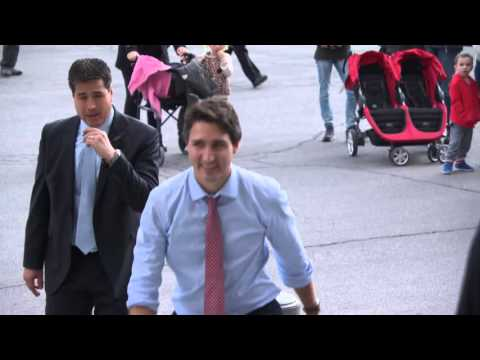 Exclusive: Justin Trudeau arrives at The Peace Tower in Ottawa