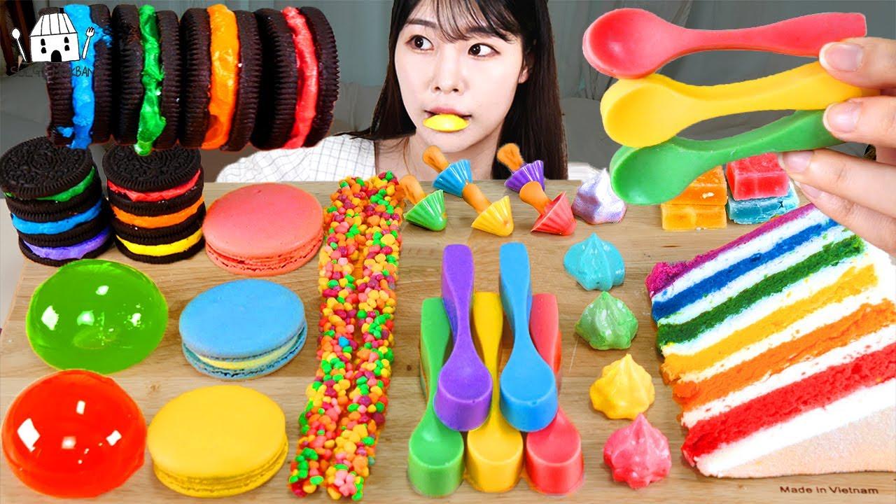 ASMR MUKBANG| 레인보우 디저트 아이스크림 마카롱 젤리 먹방 & 레시피 DESSERT ICE CREAM MACARONS EATING