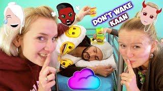DON'T WAKE KAAN Challenge NINA + KATHI ÄRGERN KAAN IM SCHLAF! Play Doh auf Kopf & Schaum ins Gesicht