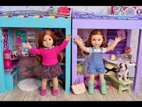 Setting Up My American Girl Doll College Dorm Bedroom With Loft Beds
