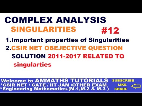 COMPLEX ANALYSIS- Singularties Properties in Hindi ( Lect#11),OBJECTIVE CSIR NET  (2011-2017) MATHS,
