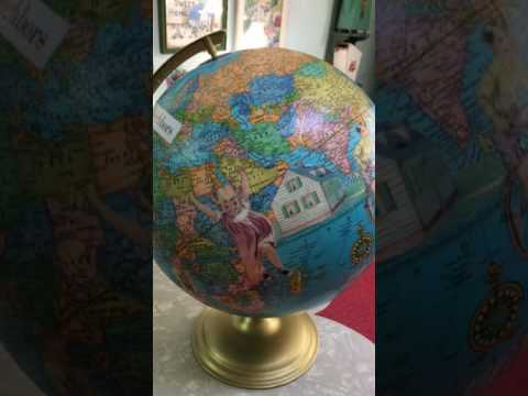 T Party Antiques Handmade Altered Art Globe