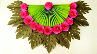 Paper Rose Wall Hanging Diy At Home | Handmade Vector Leaf Wall Decoration | Paper Girl