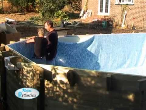 How to install a Wooden Pool Part 7/13 - Hanging the Liner - DIY
