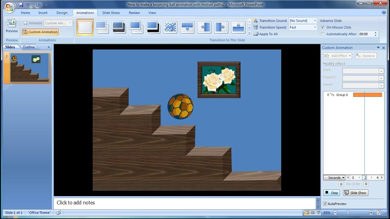 Powerpoint Training How To Make A Bouncing Ball Animation With Motion  Paths In Powerpoint