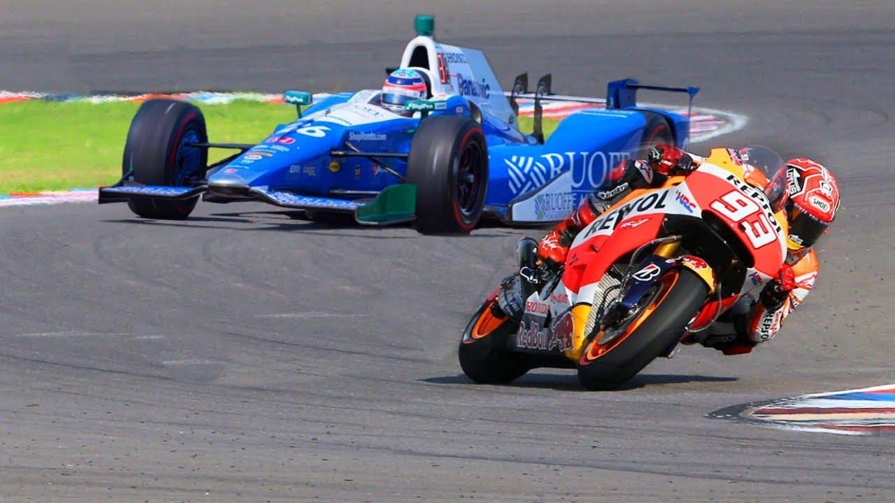 marc marquez motogp bike vs formula f1 indy race car youtube