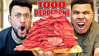 1000+ Pepperoni on 1 Slice of Pizza CHALLENGE 🍕!!! ((NEVER AGAIN)) ft. WOLFIE