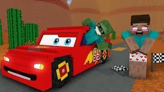 Monster School: Disney Pixar's Cars Lightning McQueen Race! - Minecraft Animation