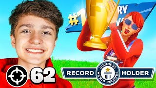 13 Year Old Beats FORTNITE KILL RECORD... (62 Kills!!)