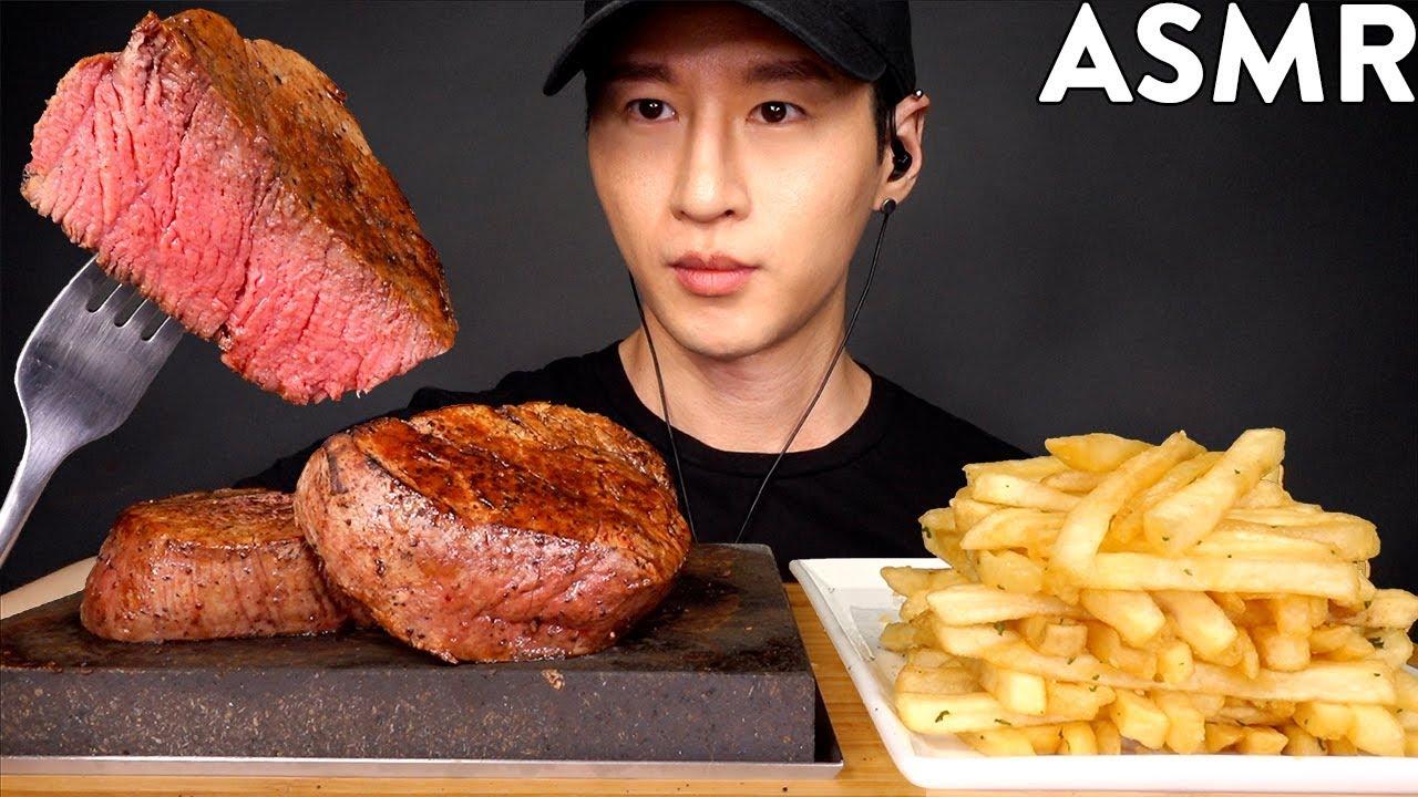 ASMR FILET MIGNON & GARLIC FRIES MUKBANG (No Talking) COOKING & EATING SOUNDS | Zach Choi AS