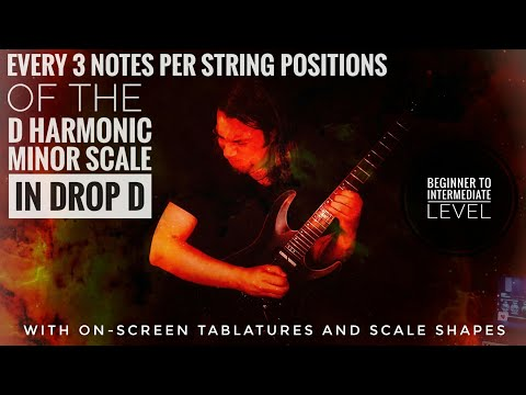 3 notes per string positions of D Harmonic minor in Drop D guitar workout