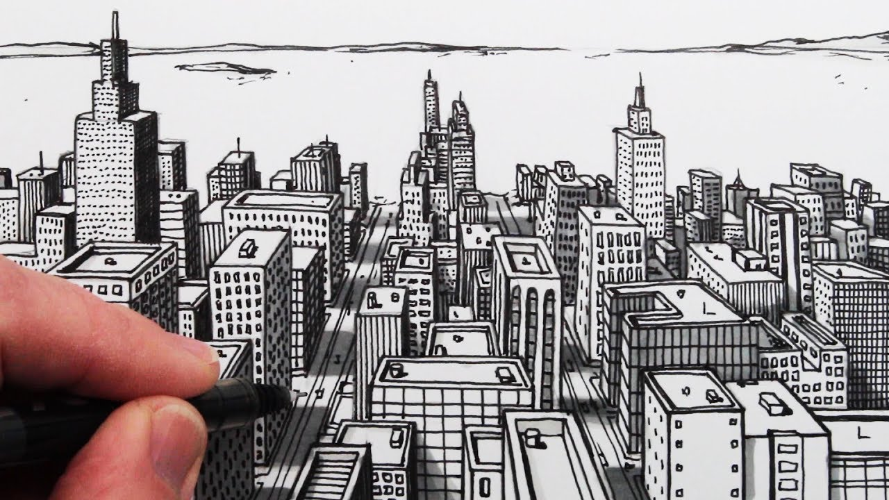 How to Draw a City in 1-Point Perspective: Easy